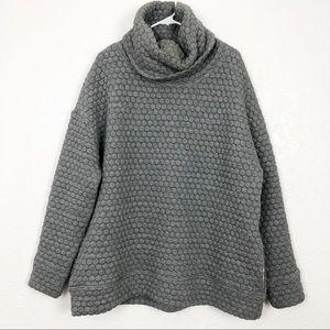 GAPFIT Hexagon Quilted FunnelNeck Sweater Grey XL